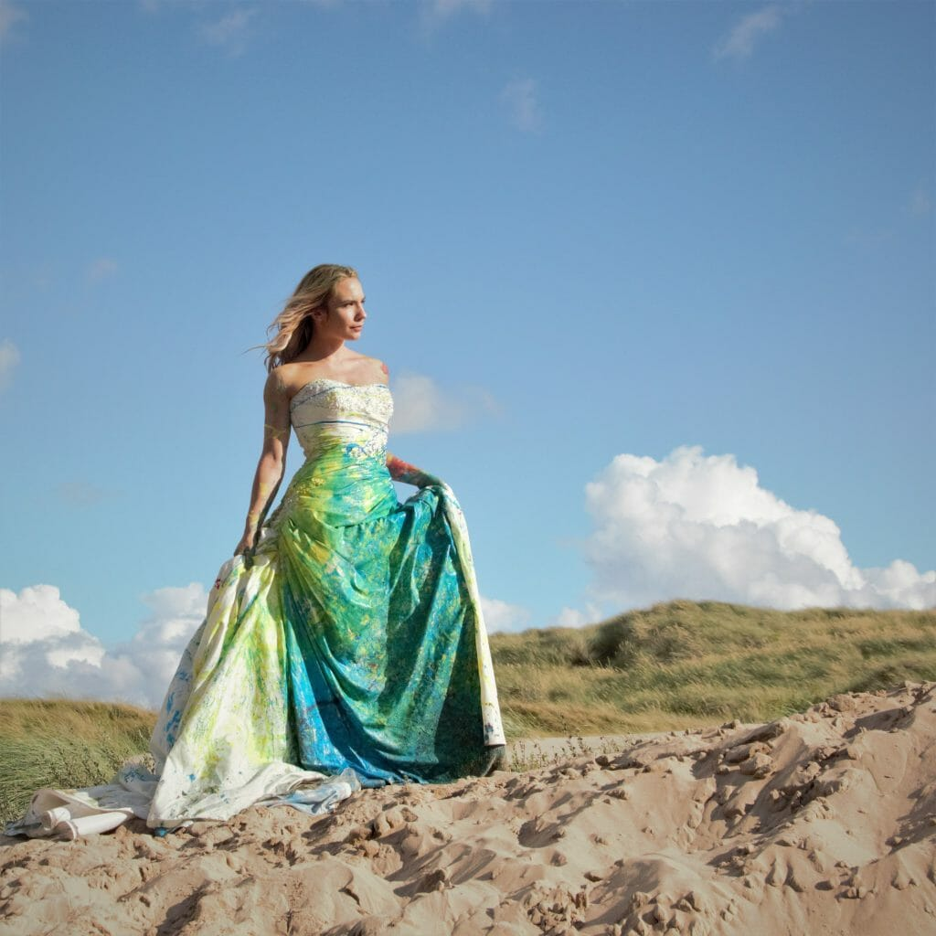 Welshot Model posing in a Wedding Dress on a Trash The Dress Photo-Shoot in North Wales where Welshot Imaging Photographic Academy delegates were learning about photographic lighting and shooting techniques.