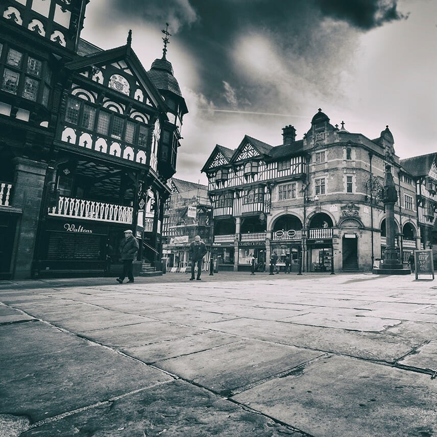 Black and white Photos of Buildings in Historical Chester - all photos taken on a Welshot Photographic Academy Workshop