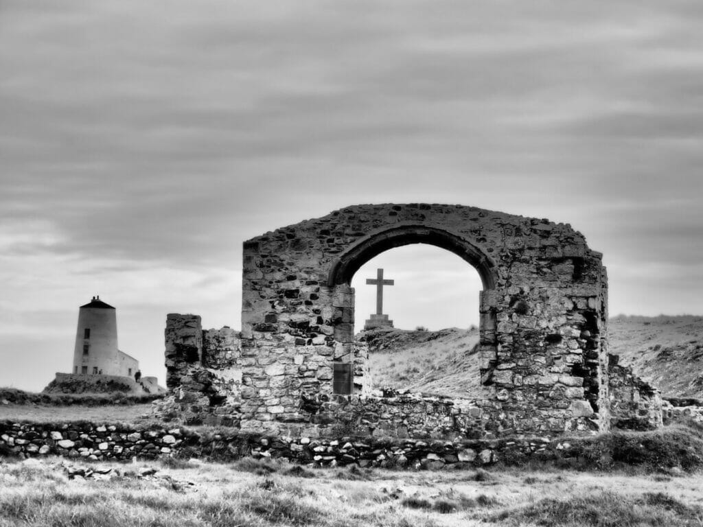 Black and White Photograph of Lighthouse on Llanddwyn Island Anglesey North Wales. Taken on a Welshot Photographic Event