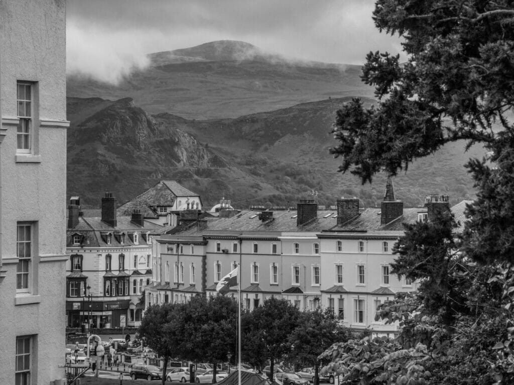 Black and White Photo taken from the Great Orme in Llandudno looking towards Mostyn Street and Conwy Mountain in North Wales