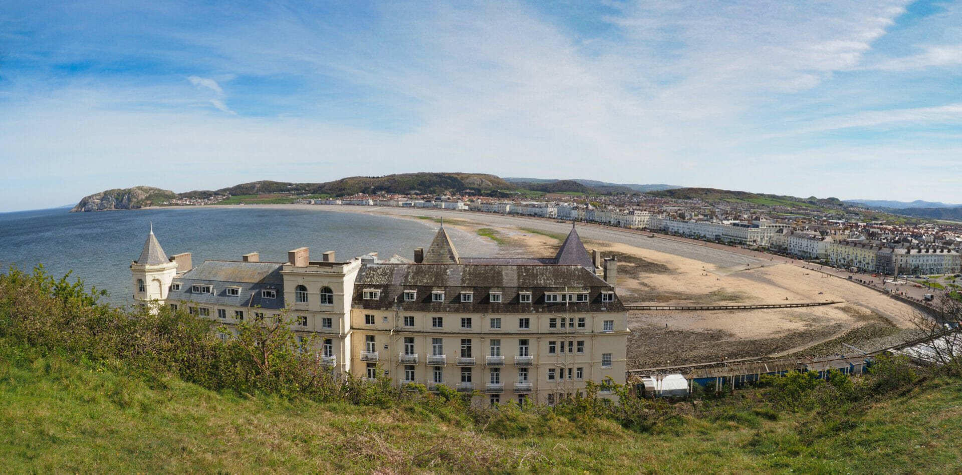 Panorama colour photo of the Grand Hotel taken from the Great Orme in North Wales overlooking the bay and town