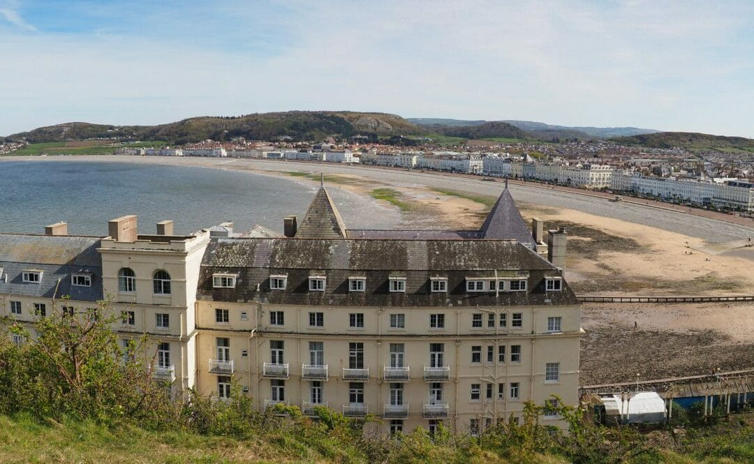 Panorama colour photo of Llandudno Town and Bay from behind the Grand Hotel taken from the Great Orme in North Wales
