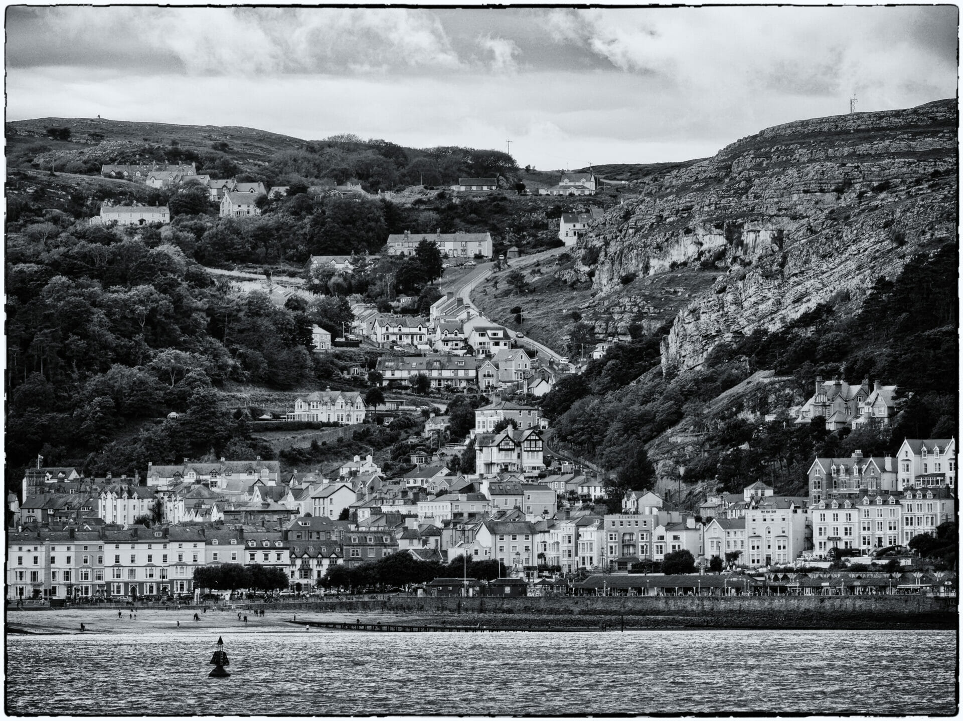 Black and White Photo of houses on the Llandudno Great Orme - Taken on a Welshot Walkabout -