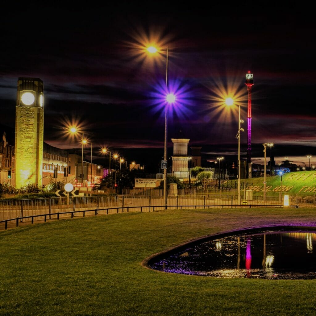 Low Light Photograph taken on the main road in Rhyl North Wales showing the clock tower