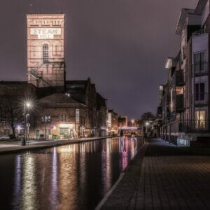 Photo taken in lowlight along the Shropshire Union Canal in Chester. Photo taken by Mark Carline and used to promote the Welshot Low-Light, Long Exposure & HDR Photography - Chester Academy Evening