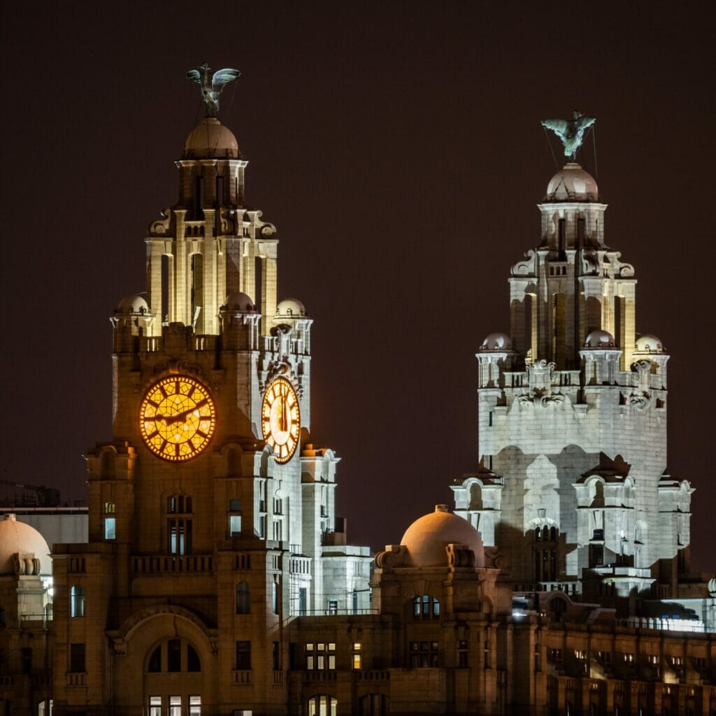 Photo of the Liver Buildings taken at night from Birkenhead