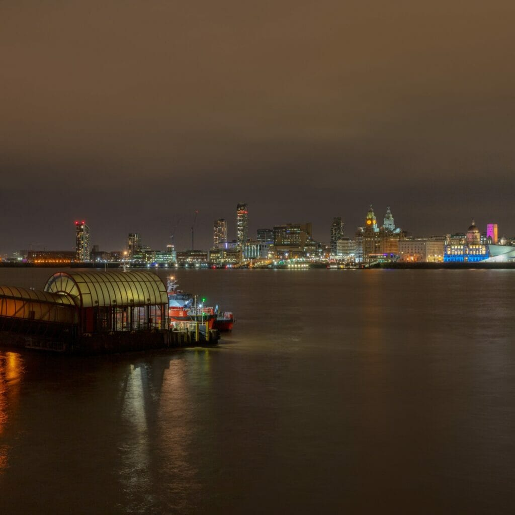Photo of Woodside Ferry Terminal with the Liverpool skyline in the background