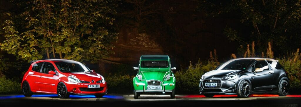 Car Photography on Location - Photo of three cars using photographic lighting