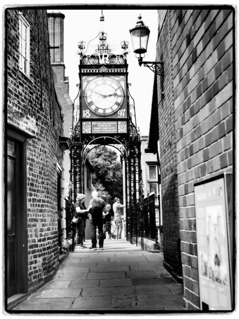 Black and White Photo of the Eastgate Clock on the Chester City Walls - Taken on a Welshot Photographic Academy Mini - Module