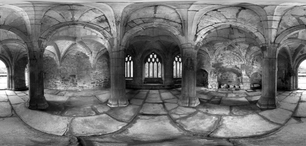 Black and White Panoramic photograph of Valle Crucis Abbey