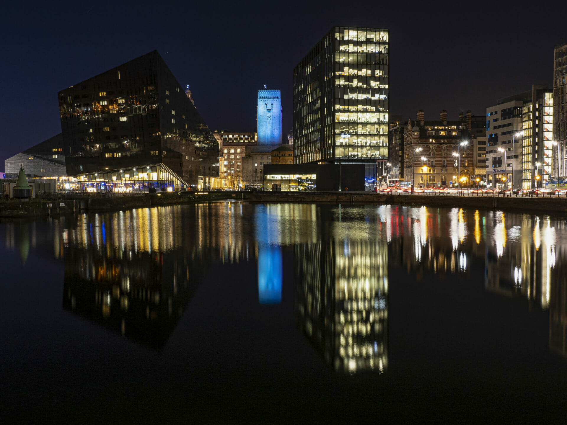 Photo taken at the Albert dock in Liverpool in Low Light - Showcasing the City lights - Taken on a Welshot Photographic Workshop - Low Light and Long Exposure at the Liverpool Christmas Markets