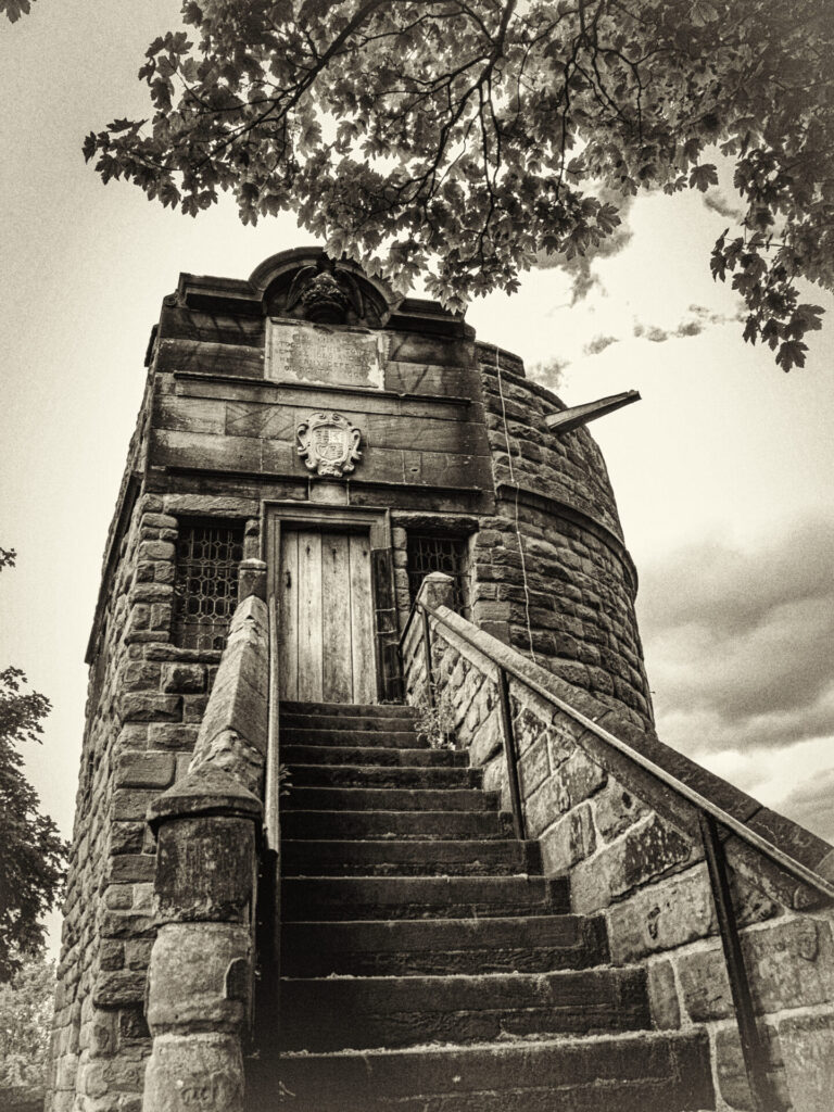 Black and white Photo of King Charles Tower in Chester