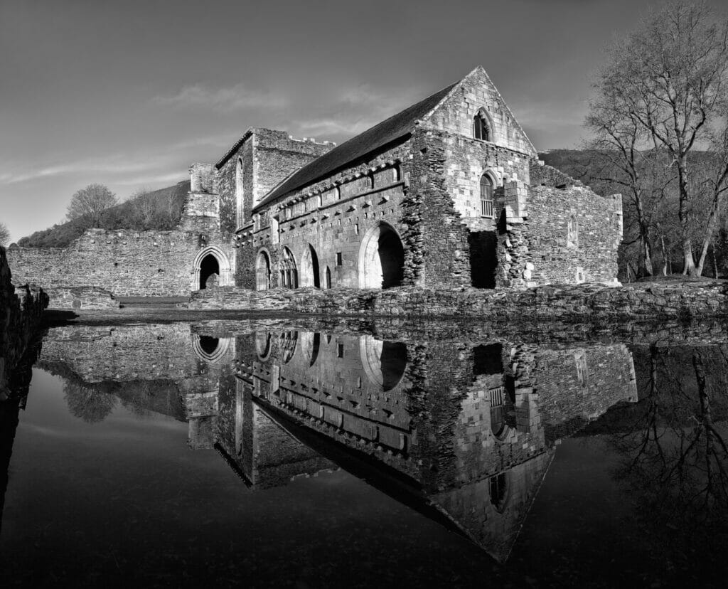 Black and White Image of Valle Crucis Abbey in Llangollen, North Wales